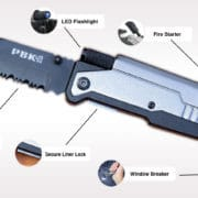 Tactical Survival Pocket Knife, Razor Sharp Stainless Steel 5-in-1 Multi-use Camping Knife Kit